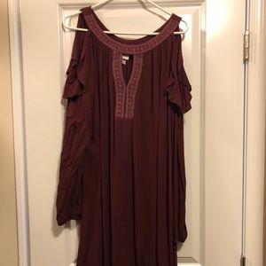 XL Knox Rose Wine Colored open-shoulder dress
